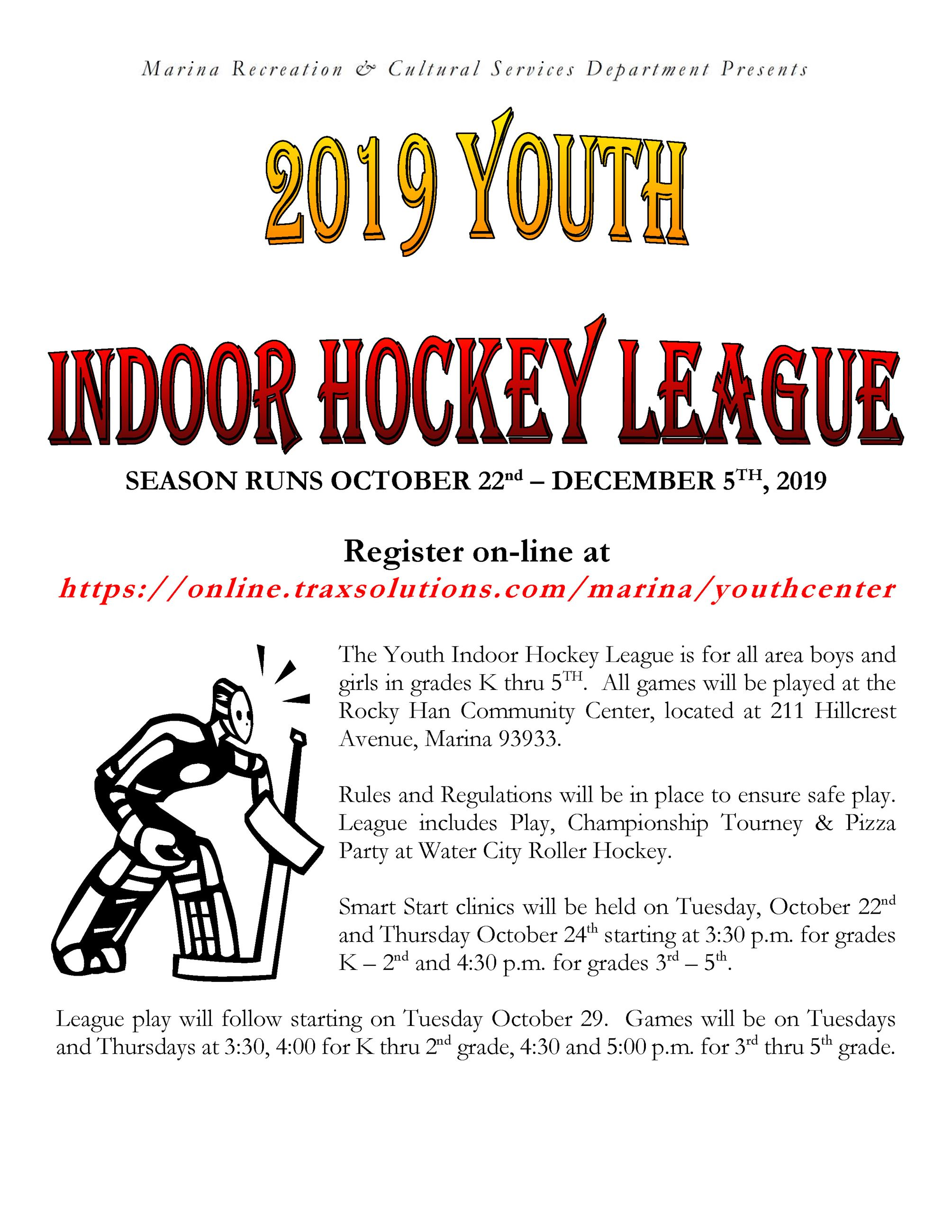 Time to register for Youth Indoor Hockey
