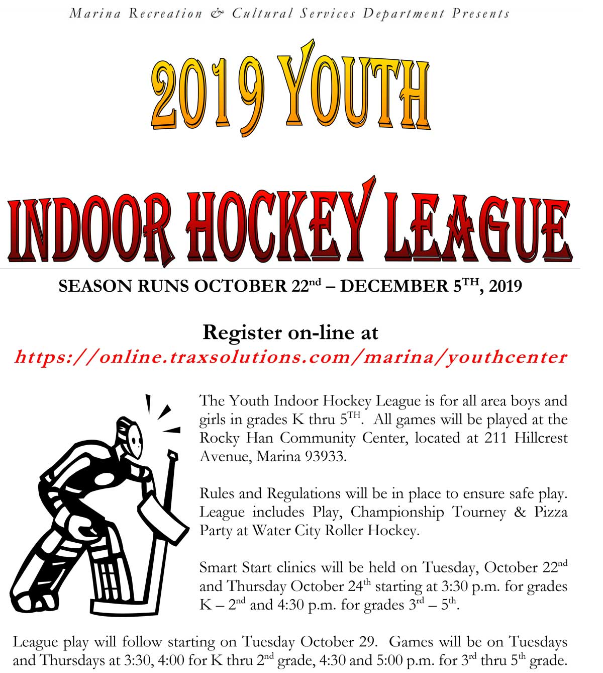 2019 Indoor Hockey League Flyer