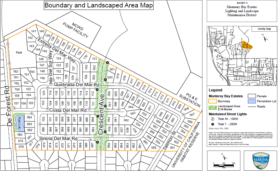 Monterey Estates Boundary and Landscaped Area Map